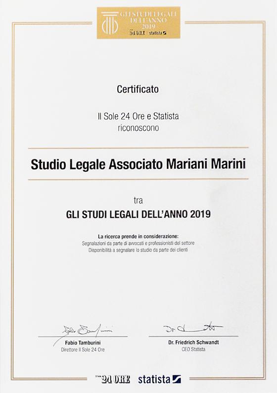 """Lo Studio Legale Associato Mariani Marini è stato riconosciuto tra """"Gli Studi Legali dell'anno – 2019"""" all'esito di una ricerca promossa da Il Sole 24 ORE e la società di ricerca Statista"""